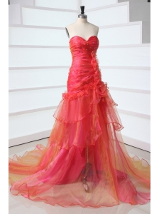 A-line Sweetheart Red Court Train Organza Beading Prom Dress