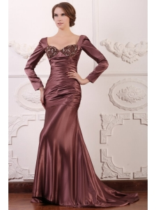 Appliqued Burgundy Column Square Prom Dress with Long Sleeves