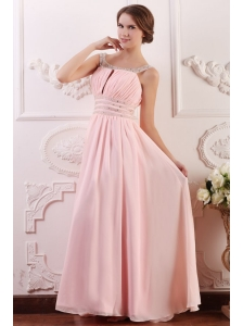 Baby Pink Empire Scoop Straps Prom Dress with Beading and Ruching