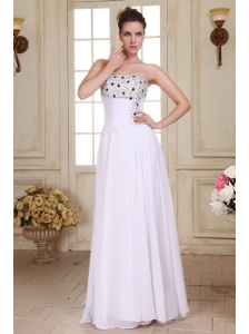 Beaded Decorate Brust and Silt Empire Strapless Chiffon Prom Dress