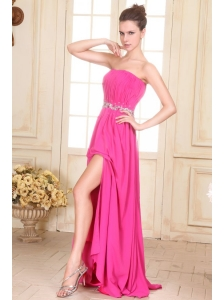 Beaded Decorate Waist Strapless Chiffon Empire Prom Dress with Silt
