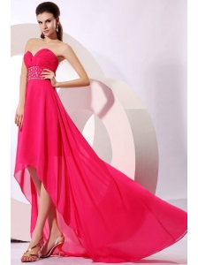 Brand new Empire Sweetheart Hot Pink High-low Beading 2014 Chiffon Prom Dress
