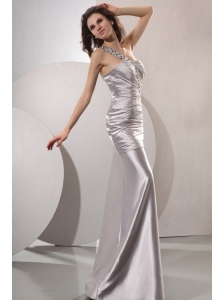 Column Beaded Decorate One Shoulder Long Prom Dress in Gray