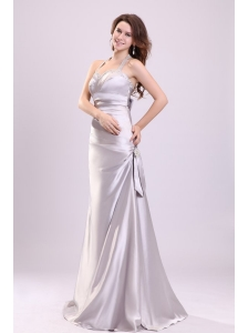 Column Gray Ruching Beading Halter Top Floor-length Prom Dress