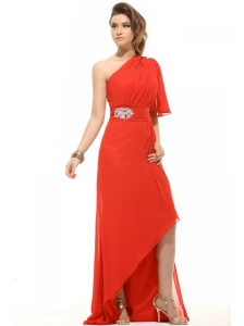 Column One Shoulder Beading High-low Chiffon Prom Dress with Side Zipper