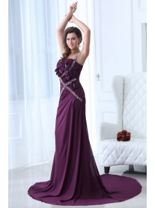 Column Purple One Shoulder  Beading and Ruching Prom Dress