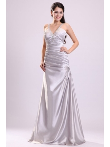 Column Straps Beading Ruching Satin Floor-length Gray Prom Dress