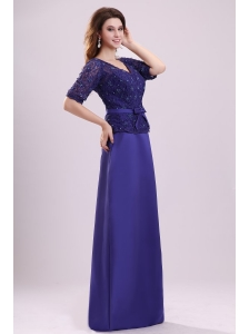 Column V-neck Lace Sash Purple Half Sleeves Satin Long Prom Dress