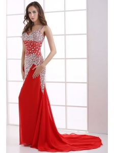 Column Wine Red Beading Straps Court Train Chiffon Prom Dress