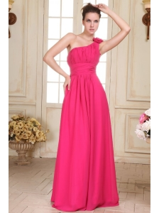 Empire One Shoulder Floor-length Hand Made Flower Prom Dress