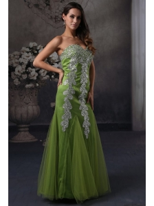 Green Column Prom Dress with Sweetheart Beading