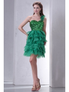 Green One Shoulder Mini-length Sequins and Ruffled Layers Prom Dress