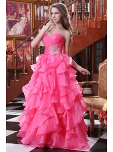 Hot Pink A-line Sweetheart Prom Dress with Beading and Ruffles