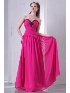 Hot Pink Empire Sweetheart Prom Dress with Beading