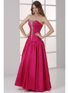 Hot Pink Sweetheart A-line Beaded Decorate Prom Dress in Long