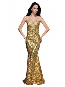 Mermaid Gold Sweetheart Sequins Beading Floor-length Prom Dress
