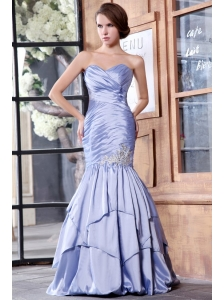 Mermaid Lavender Sweetheart Appliques with Beading Prom Dress