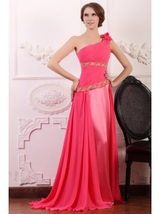 Pink Empire One Shoulder Flowers Beaded Prom Dress with Brush Train
