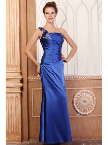 Royal Blue Column One Shoulder Prom Dress with Beading and Flowers