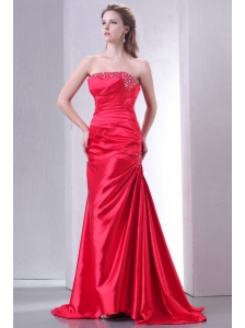 Strapless Coral Red A-line Sweep Train Beaded Decorate Prom Dress