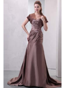 Sweetheart A-line Ruche Decorate Chocolate Prom Dress with Train