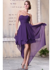 Sweetheart High-low Chiffon Empire Purple Prom Dress for Girls