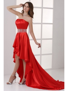 Sweetheart High-low Red Empire Beaded Decorate Waist Prom Dress