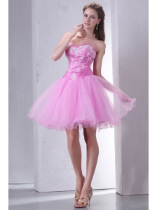Sweetheart Rose Pink Short Organza Mini-length Prom Dress with Appliques