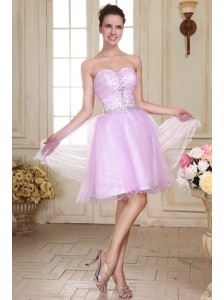 Sweetheart Short Beaded Decorate Organza Prom Dress in Lavender