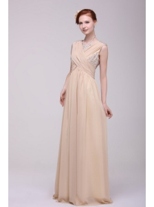 V-neck Empire Chiffon Beaded Decorate Brush Train Prom Dress