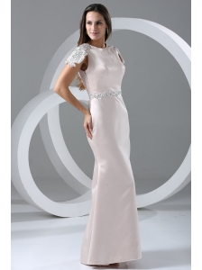 White Column Scoop Prom Dress with Appliques and Beading