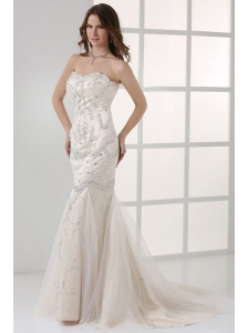White Mermaid Sweetheart Court Train Prom Dress with Beading