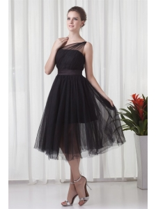 A-line One Shoulder Black Tulle Tea-length 2014 Prom Dress