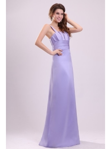 Cheap Lavender Column Straps Ruching Taffeta Floor-length Prom Dress