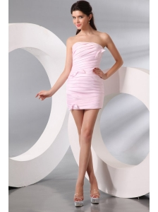 Column Baby Pink Strapless Ruching Short Prom Dress