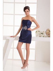 Column Navy Blue Strapless Appliques Ruching Mini-length Prom Dress
