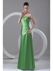 Column Strapless Spring Green Ruching Taffeta Floor-length Prom Dress