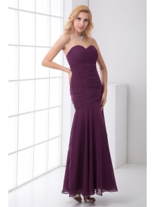 Column Sweetheart Ankle-length Chiffon Purple Prom Dress with Ruching