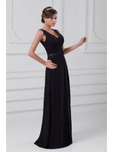 Column V-neck Black Floor-length Ruching Chiffon Zipper Up Prom Dress