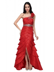 Column Wine Red Hand Made Flowers Strapless Beading Ruffled Layers Prom Dress