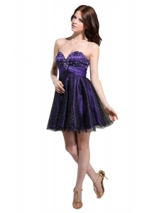Cute Sweetheart Beaded Mini-length Prom Dress in Purple