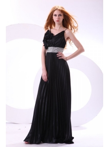 Empire Black Spaghetti Straps Long Pleats and Beading Prom Dress
