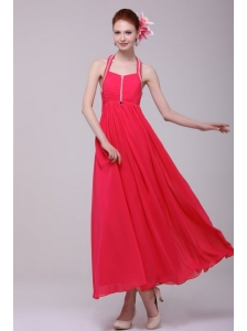 Empire Halter Top Neck Red Beading Ankle-length Prom Dress