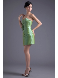 Green Column Sweetheart Mini-length Taffeta Ruching Prom Dress