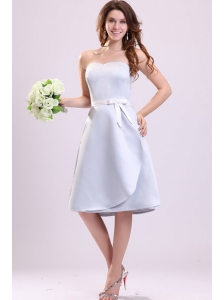 Light Blue Sweetheart A-line Knee-length Bridesmaid Dress with Sash