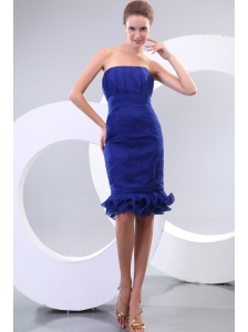 Sheath Royal Blue Strapless Ruching Organza Prom Dress