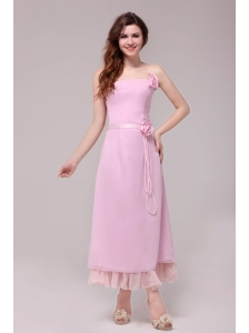 Strapless Baby Pink Hand Made Flowers Tea-length Prom Dress