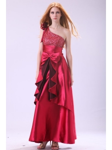 Wine Red One Shoulder Sequins and Bow Ankkle-length Prom Dress