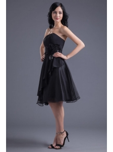 A-line Black Strapless Knee-length Hand Made Flowers Prom Dress