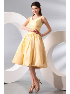 A-line Light Yellow V-neck Knee-length Ruching Prom Dress